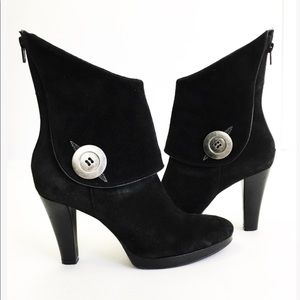 Gianni Bini Black Suede Leather Musketeer Boots